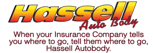Hassell Auto Body logo with slogan